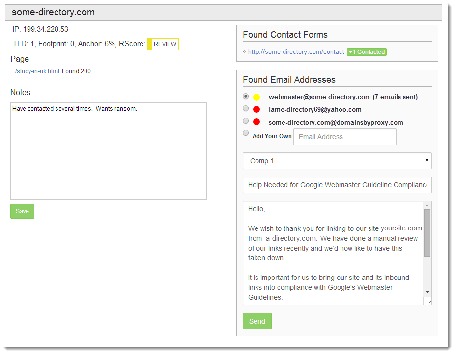 Self Service Screenshot Contact Domains to Remove Backlinks